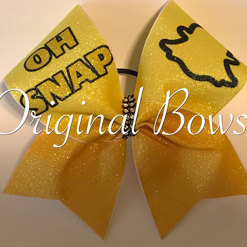 Yellow OH SNAP Ghost Glitter Cheer Bow