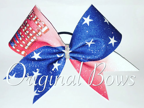 FIERCE USA Themed Patriot Red white blue stars Glitter Cheer Bow