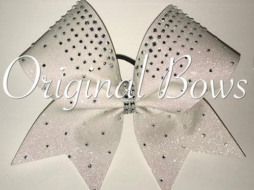 White Glitter Rhinestone Cheer Bow