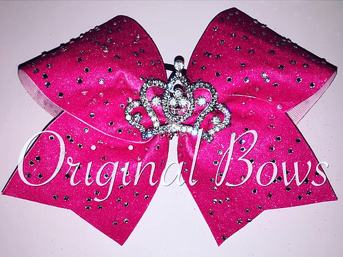 Hot Pink BLING glitter crown Cheer Bow