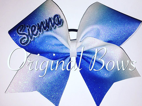 Customized Blue White Ombre Glitter Bow