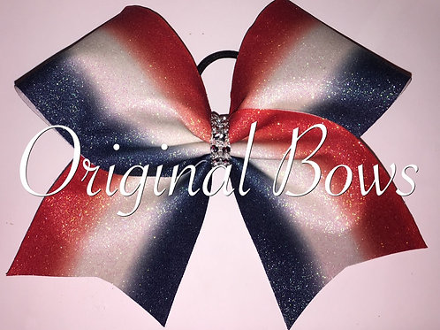 Red White and Blue Patriotic Glitter Bow