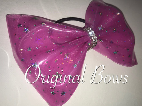 """Hot Pink Stars H2O 4"""" Tailless Bow"""