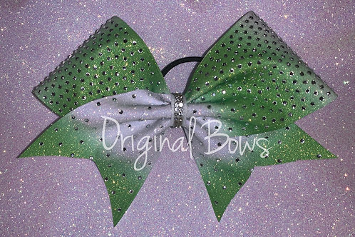 Lime Green Ombré Glitter rhinestone Cheer Bow