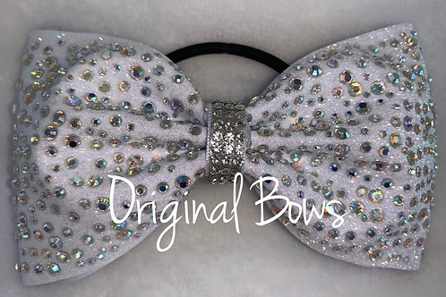 White Glitter AB gemstone tailless glitter bow