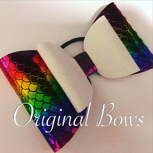 Rainbow Mermaid Shimmer Glitter Double Bow