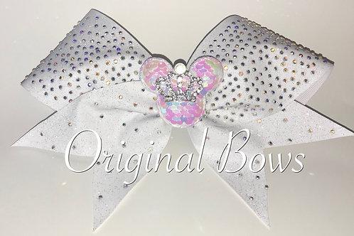 White Rhinestone Mouse Queen Glitter Bow