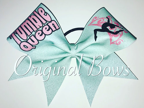 Tumble Queen light blue Glitter Bow