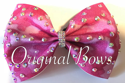 "Pink Camo Gems 4"" Glitter Tailless Bow"