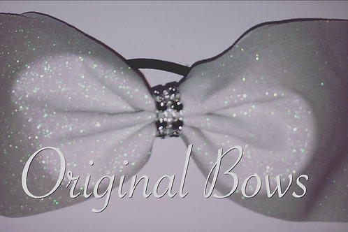 White Glitter Tailess Cheer BOW