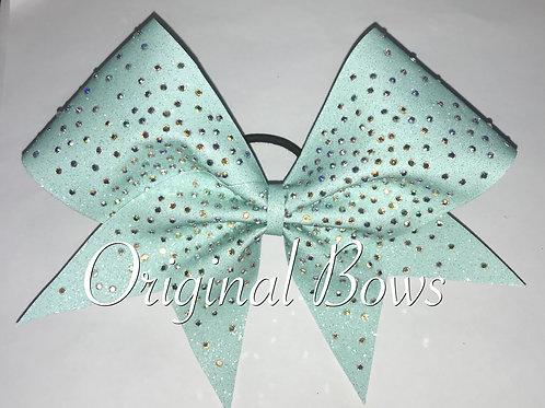 Teal glitter rhinestone clustered cheer bow