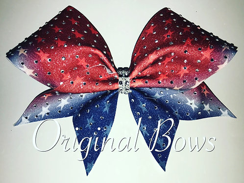 Red White & Blue Glitter Rhinestone Bow