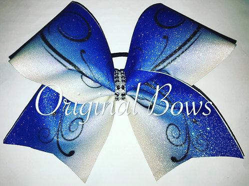 Blue White Ombre Swirl Sparkle Glitter Bow
