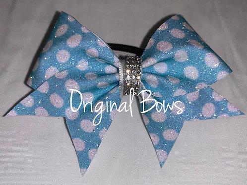 Blue polka dots Glitter Pigtail Mini Bow
