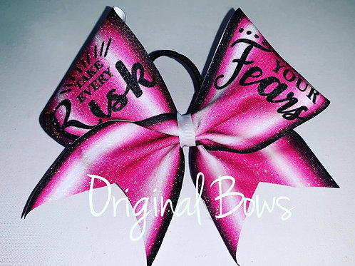 Take Every Risk  Glitter Cheer Bow