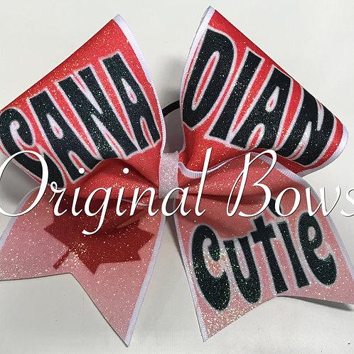 Canadian Cutie Glitter Cheer Bow