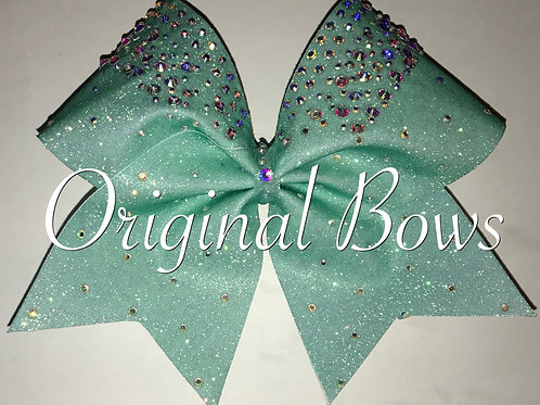 Teal Glitter gemstone clustered Cheer Bow