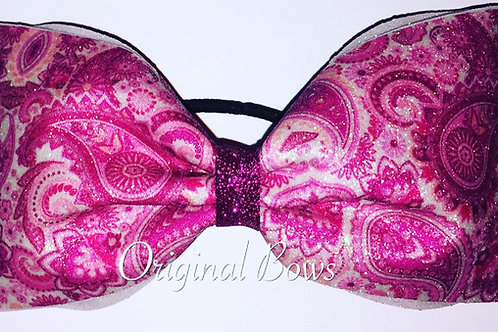 Pink Paisley Glitter Tailless Cheer Bow
