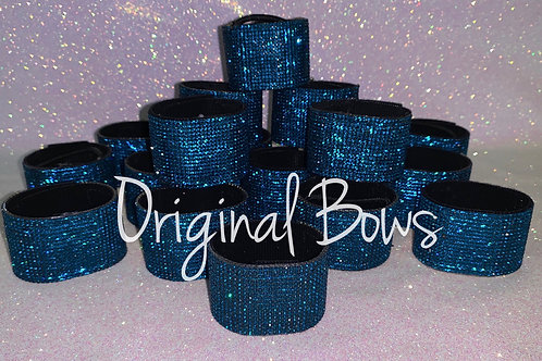 Teal Rhinestone hair pony cuffs