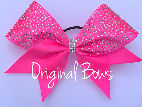 Hot Pink Rhinestone Fabric Cheer Bow