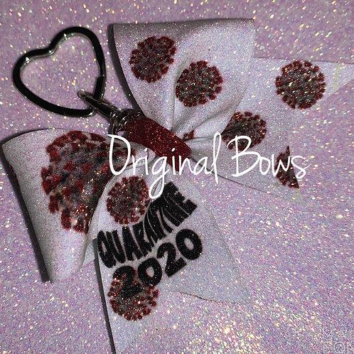 Quarantine 2020 COVID-19 glitter Keychain Mini Bow