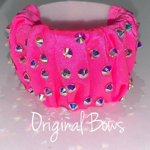 Hot Pink Scrunchie Rhinestone hair pony cuffs