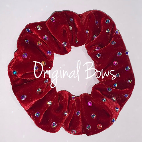 Rhinestone Red Velvet Hair Scrunchy