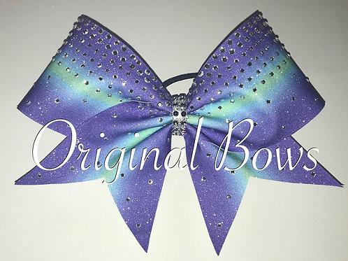 Purple and teal Glitter Rhinestone Bow