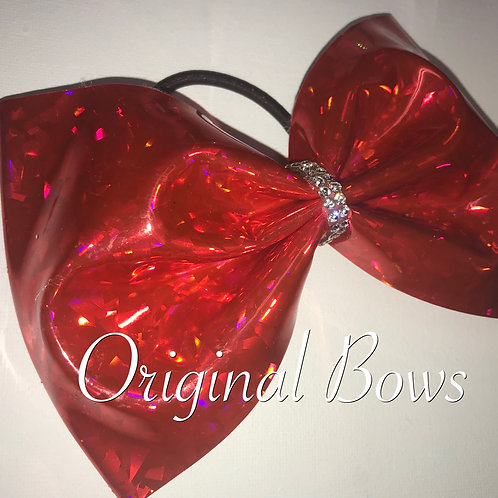 """Red holographic 4"""" Tailless Bow"""