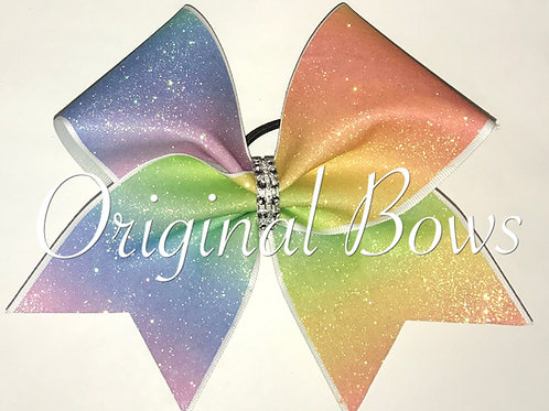 Rainbow ombre glitter Cheer Bow
