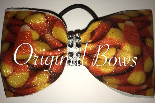 Candy Corn Halloween Glitter Tailless Cheer Bow