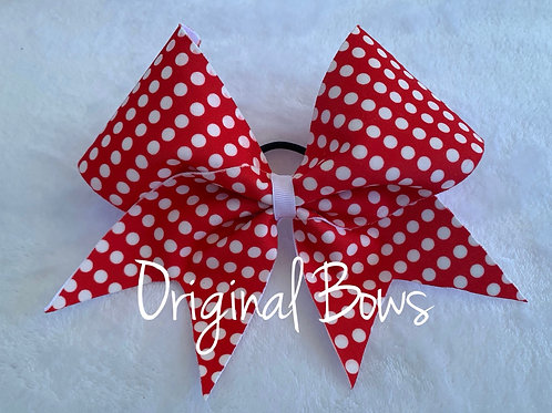 Red & White Polka Dots Fabric Cheer Bow