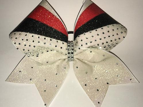 Red White & Black Glitter Rhinestone Cheer Bow