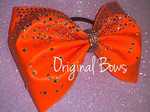 "NEON Orange 4"" Tailless Rhinestone Cheer Bow"