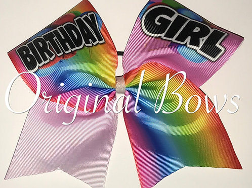 Birthday Girl Rainbow Cheer Bow