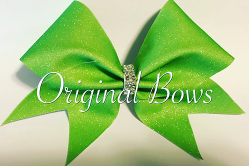 Lime Green Glitter Cheer Bow