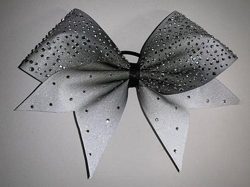Ombre white Glitter Rhinestone Cheer Bow