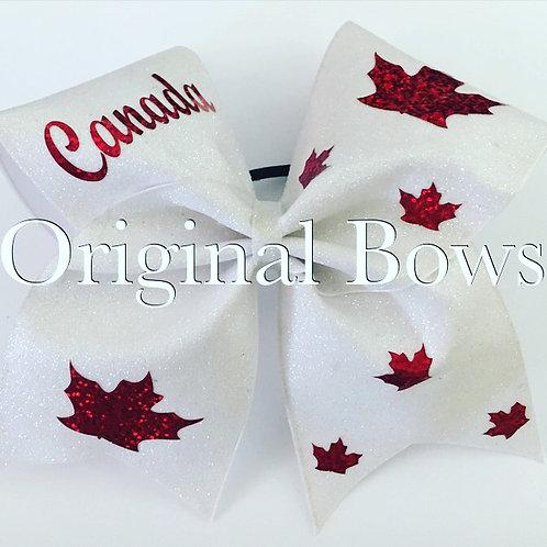 White Canada Glitter Cheer Bow
