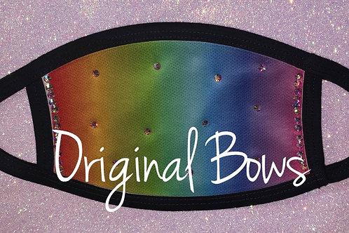 Rainbow Ombre Rhinestone Face Mask