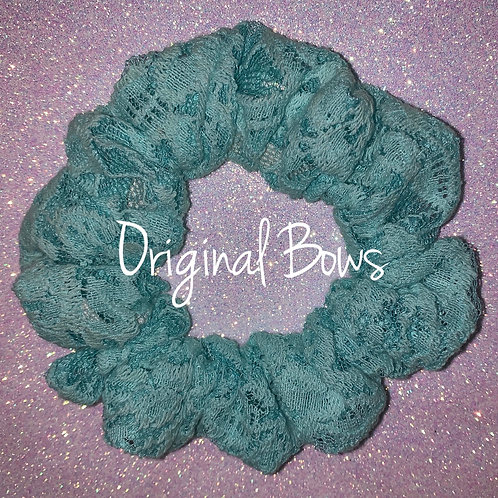 Teal Lace Hair Scrunchy