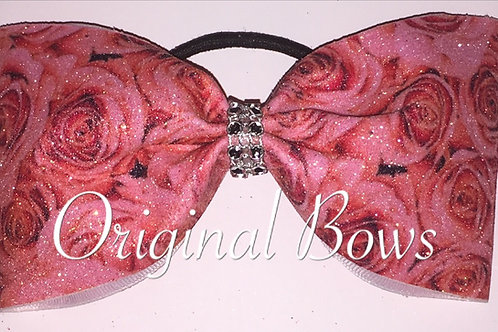 Pink Roses Glitter Sparkle Tailless Cheer Bow