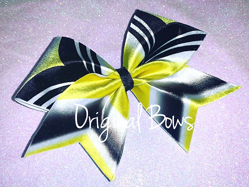 Velvet Yellow and black Shimmer Girl Power Cheer Bow
