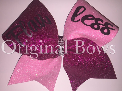 FLAWLESS Pink Glitter Sparkle Cheer Bow