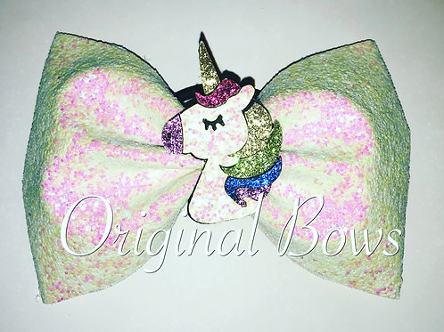 "Unicorn Pink & White chunky Glitter Tailless 4"" Bow"