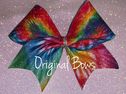 Tie Dye RAINBOW Glitter Cheer Bow