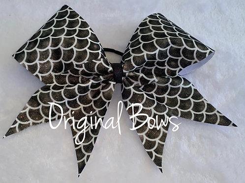 Black Mermaid Glitter Cheer Bow