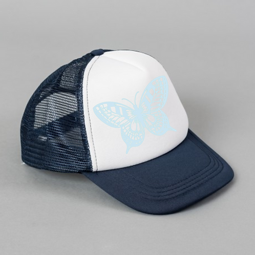 Blue Butterfly Black White Hat