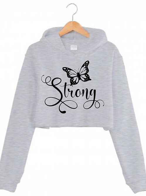 Grey Strong Cropped hoodie