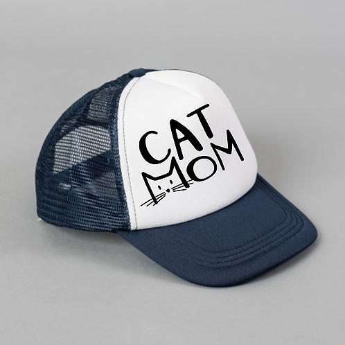 Cat MOM Black White Hat