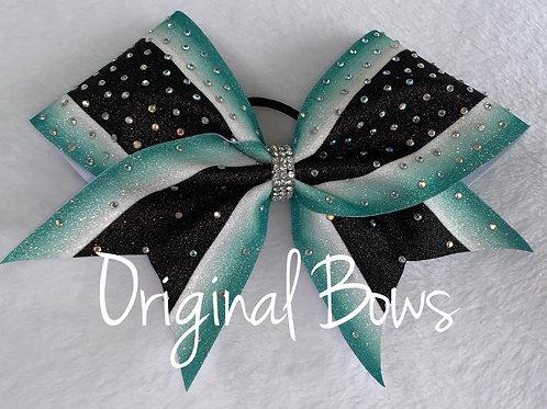 Teal Black and white Rhinestone Striped Glitter Bow